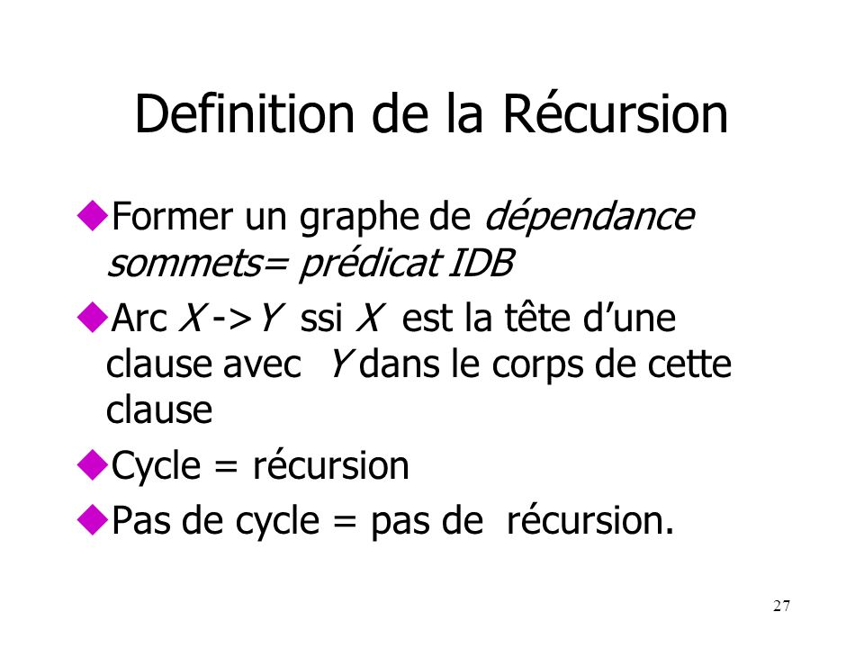 Definition de la Récursion