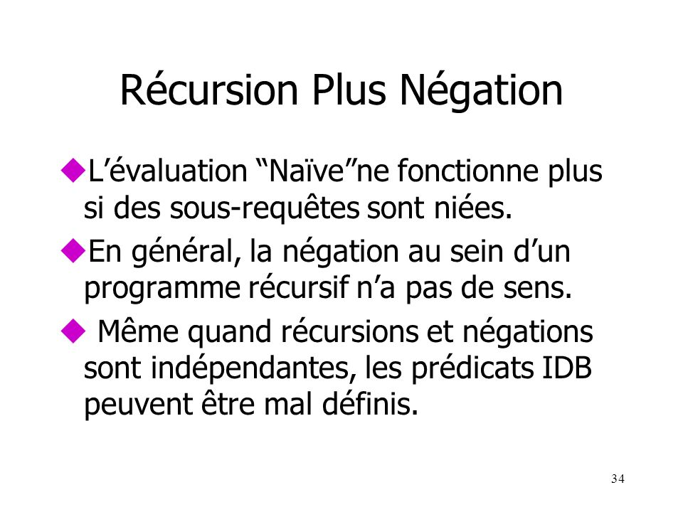 Récursion Plus Négation