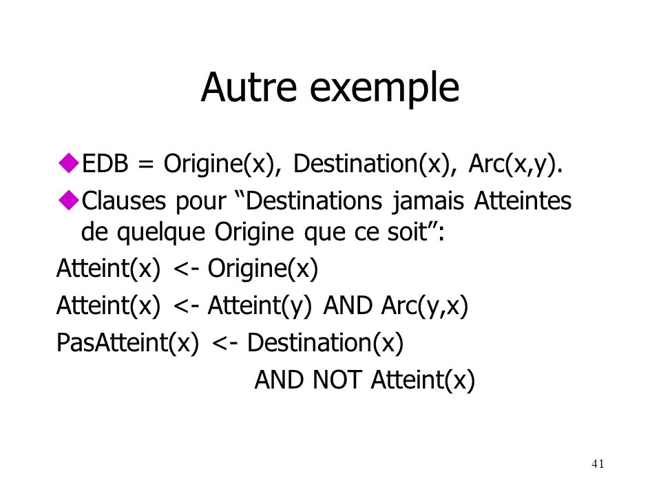 Autre exemple EDB = Origine(x), Destination(x), Arc(x,y).