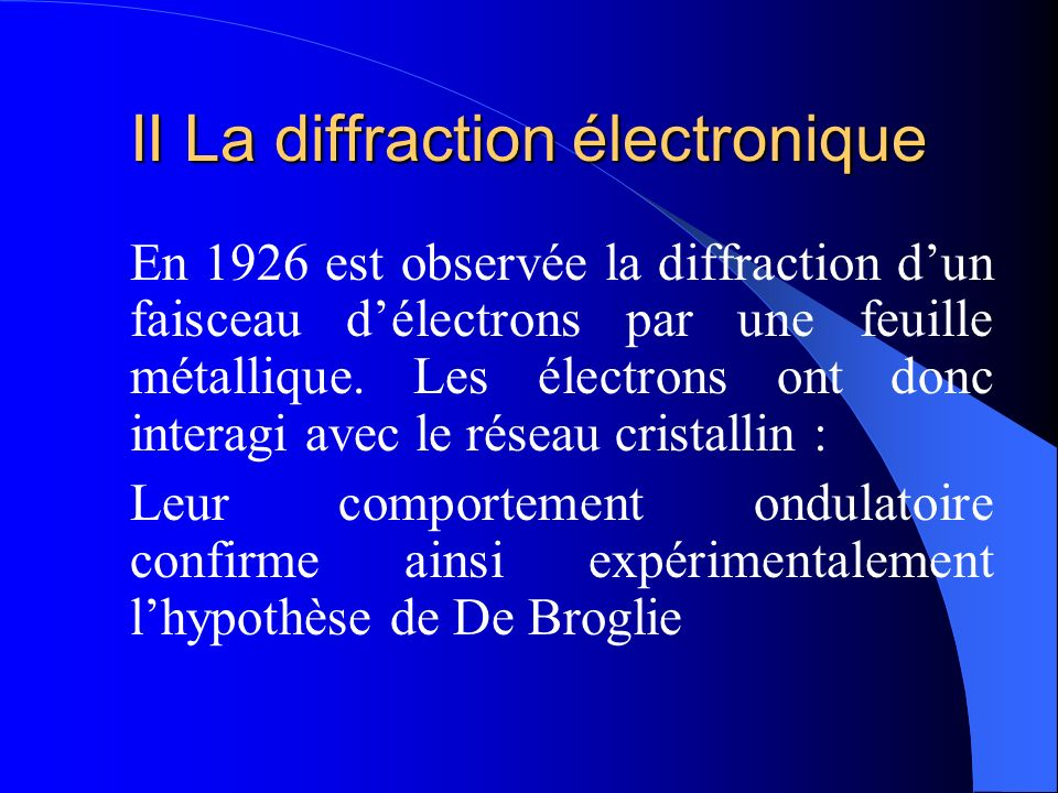 II La diffraction électronique