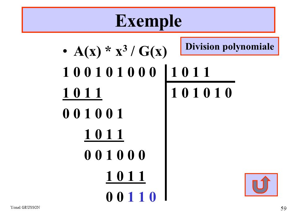 Exemple Division polynomiale. A(x) * x3 / G(x)