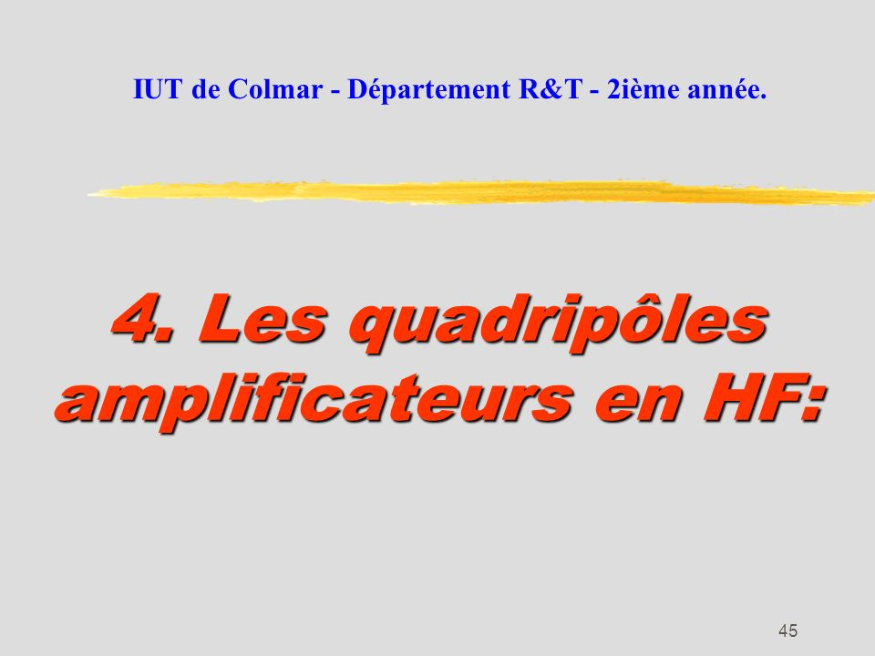 4. Les quadripôles amplificateurs en HF: