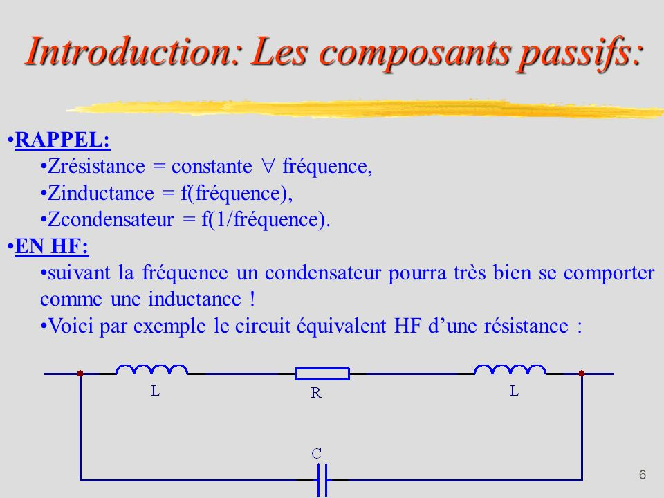 Introduction: Les composants passifs: