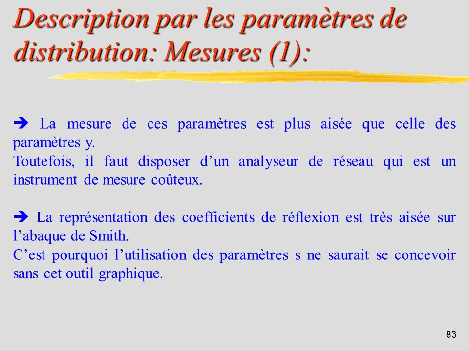 Description par les paramètres de distribution: Mesures (1):