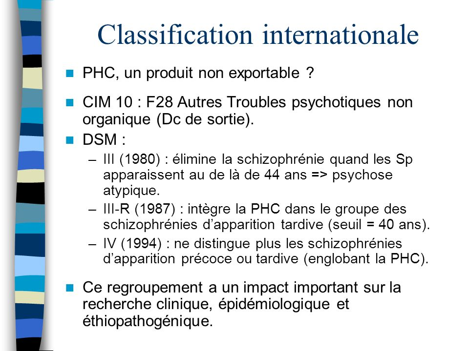 Classification internationale