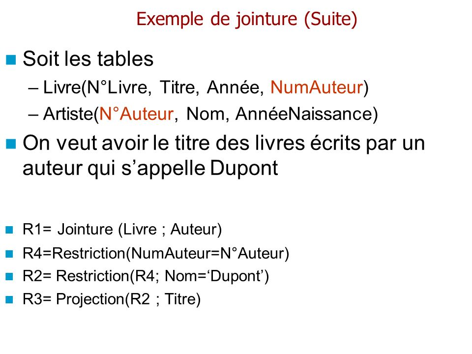 Exemple de jointure (Suite)