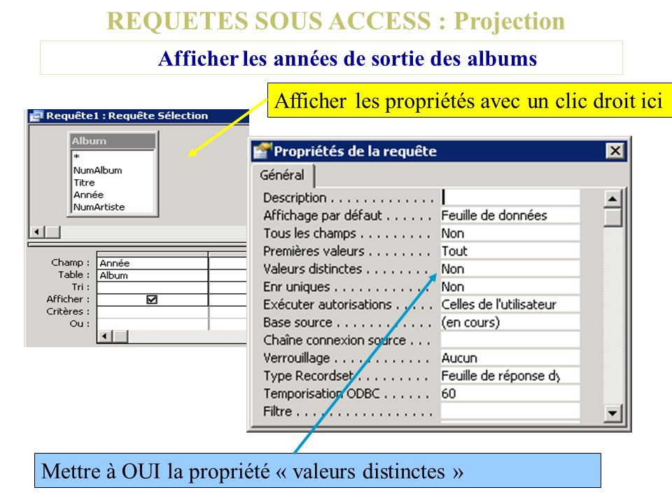 REQUETES SOUS ACCESS : Projection