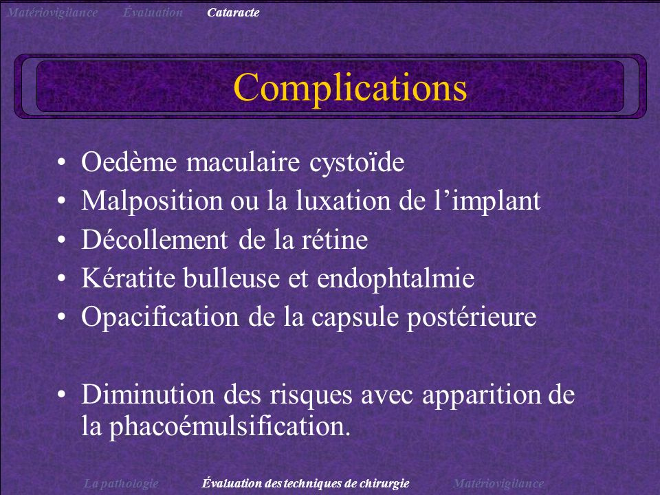 Complications Oedème maculaire cystoïde