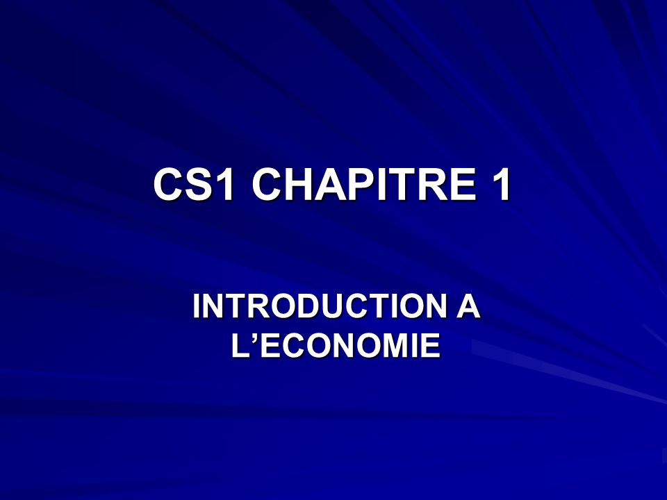 INTRODUCTION A L'ECONOMIE