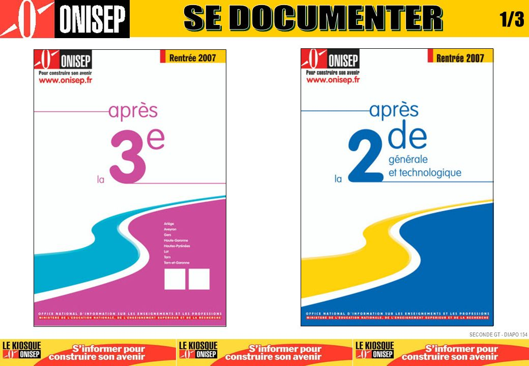 SE DOCUMENTER 1/3 SECONDE GT - DIAPO 154 APRES BAC GENERAL - DIAPO 154