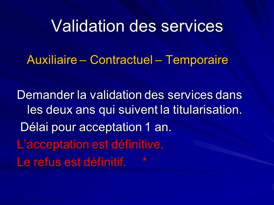 Validation des services