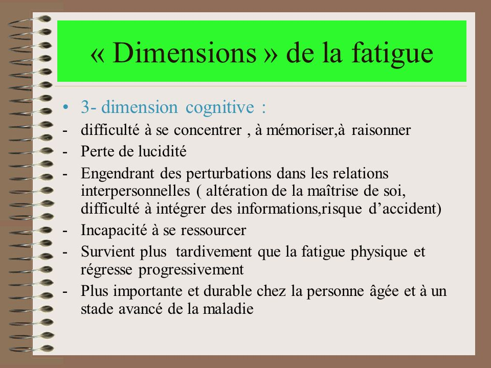 « Dimensions » de la fatigue