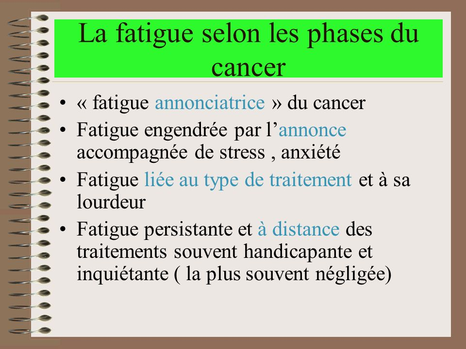 La fatigue selon les phases du cancer