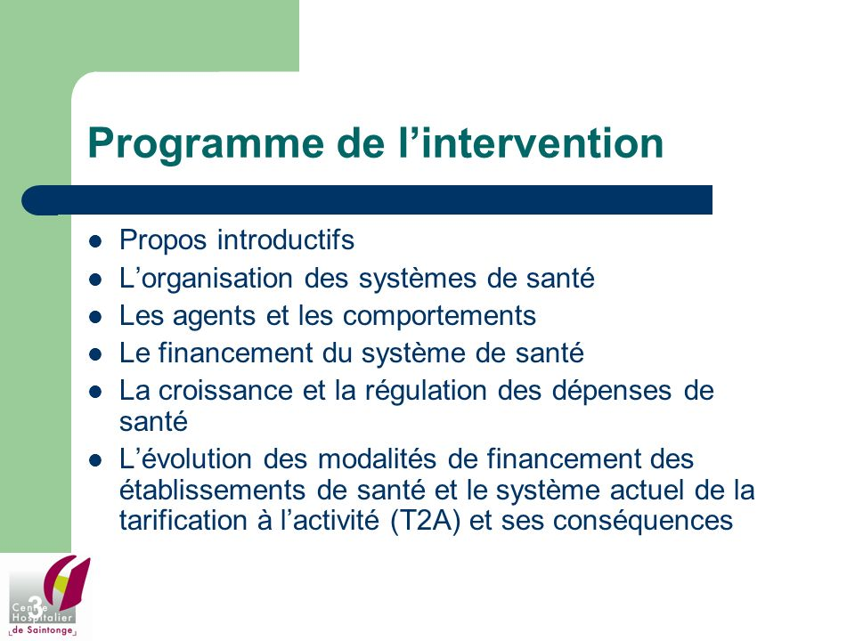 Programme de l'intervention