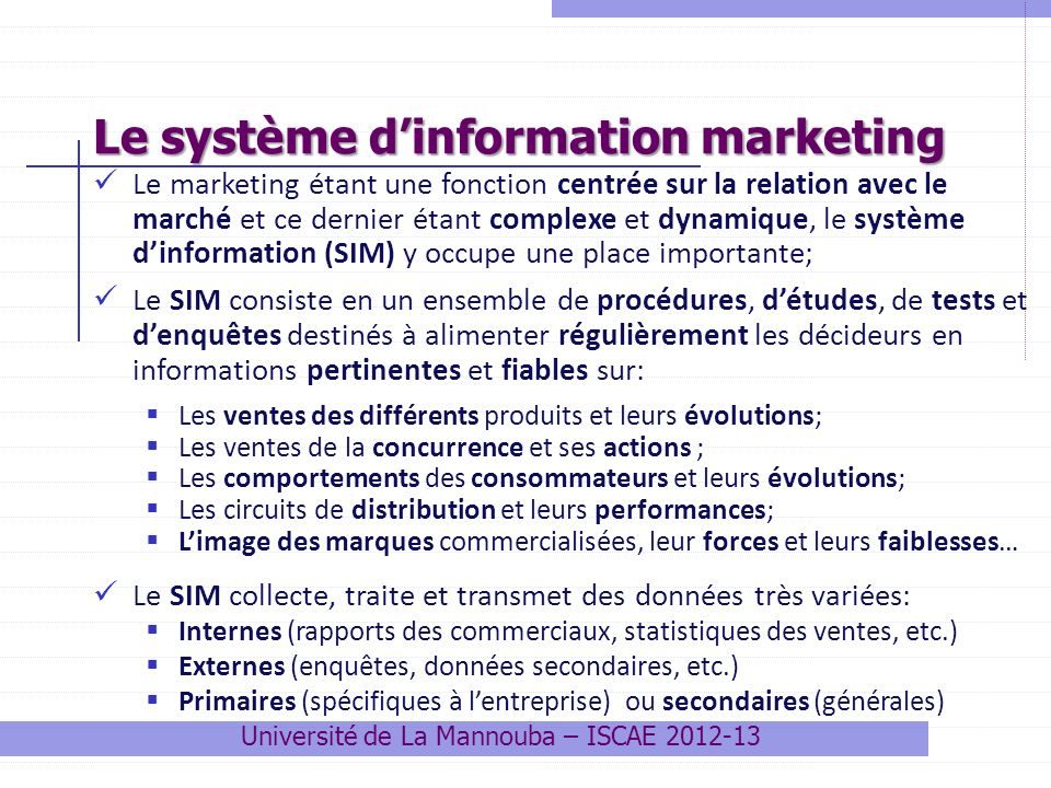 Le système d'information marketing