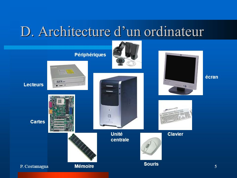 D. Architecture d'un ordinateur