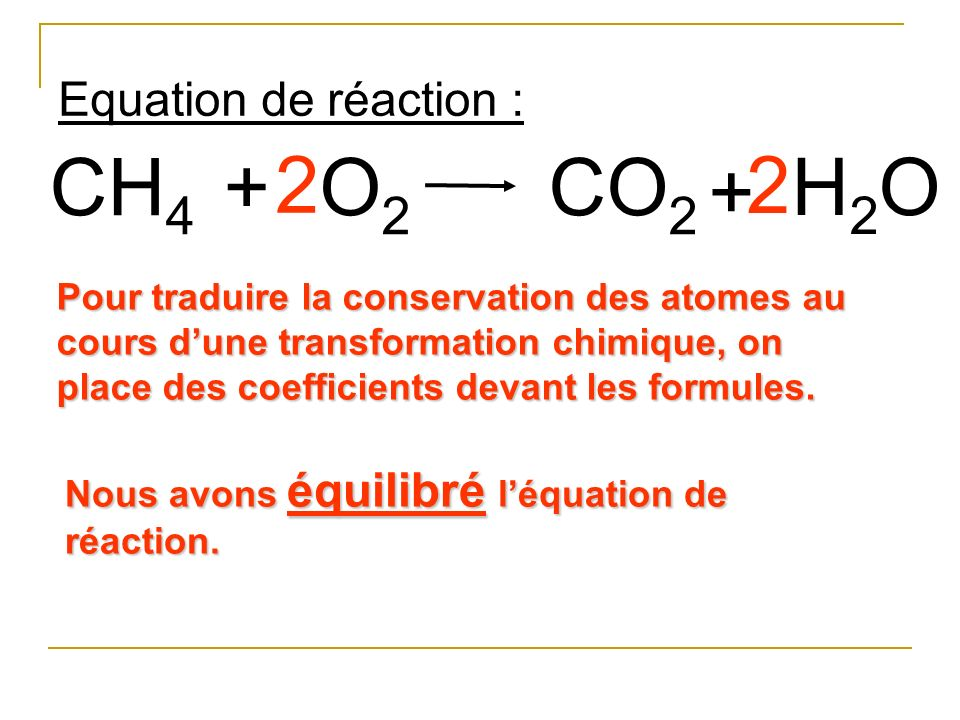 CH4 + 2 O2 CO2 2 + H2O Equation de réaction :