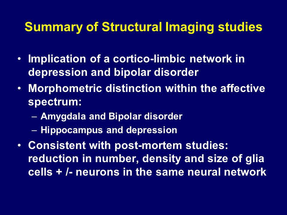 Summary of Structural Imaging studies