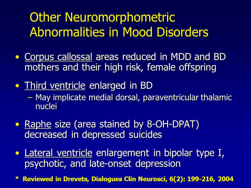 Other Neuromorphometric Abnormalities in Mood Disorders