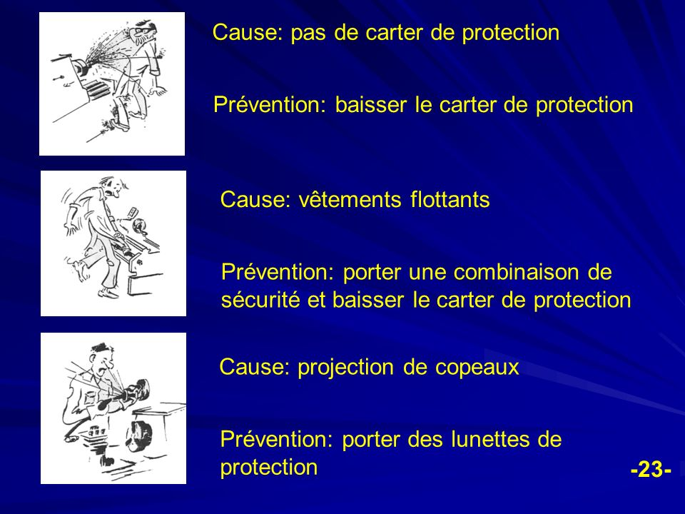 Cause: pas de carter de protection