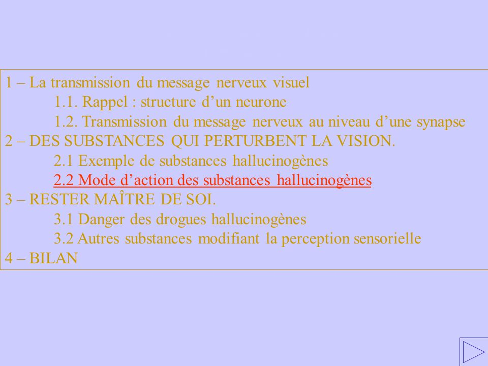 2.2 Mode d'action des substances hallucinogènes