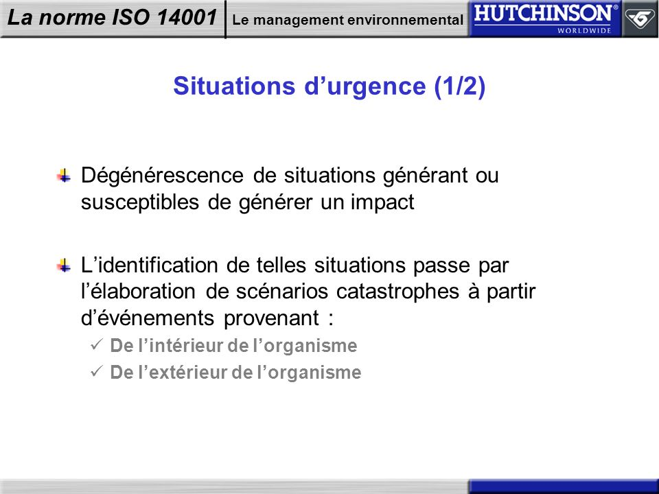 Situations d'urgence (1/2)