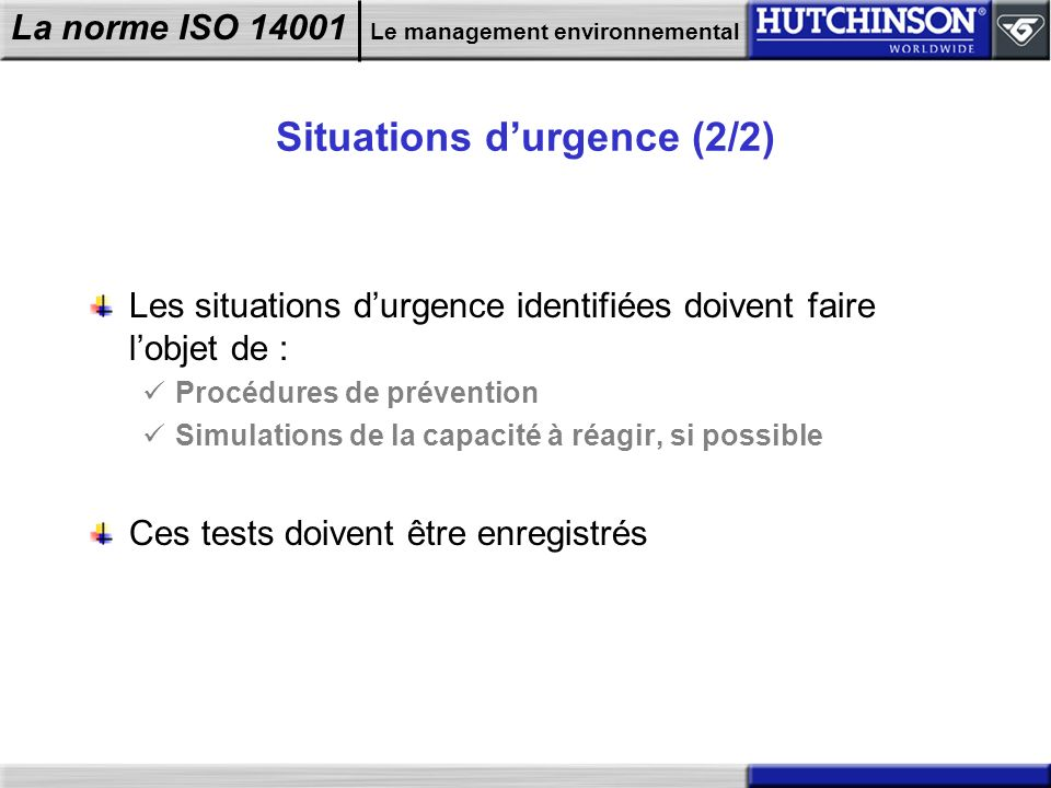 Situations d'urgence (2/2)
