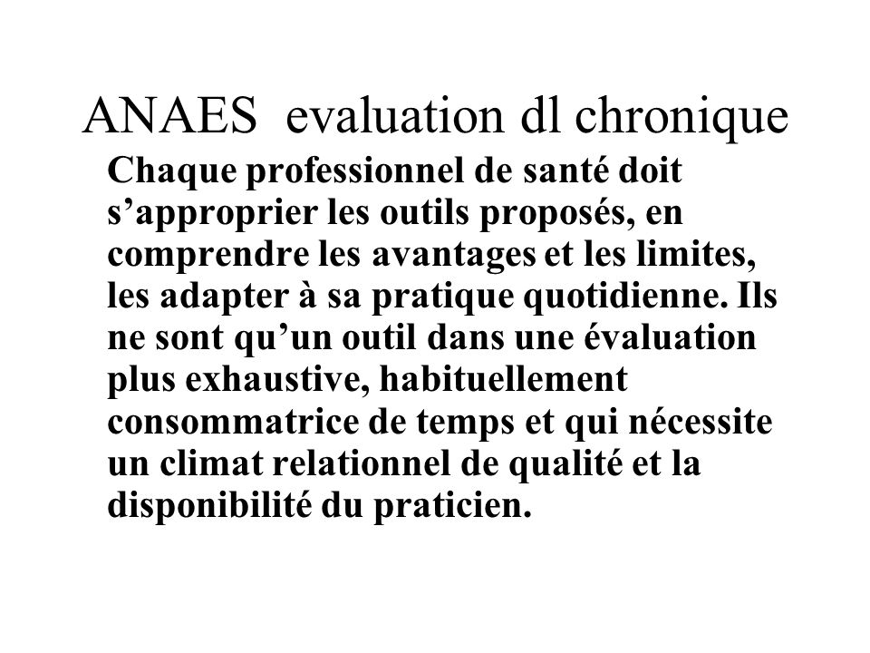 ANAES evaluation dl chronique