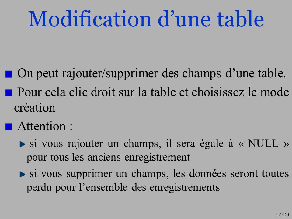 Modification d'une table