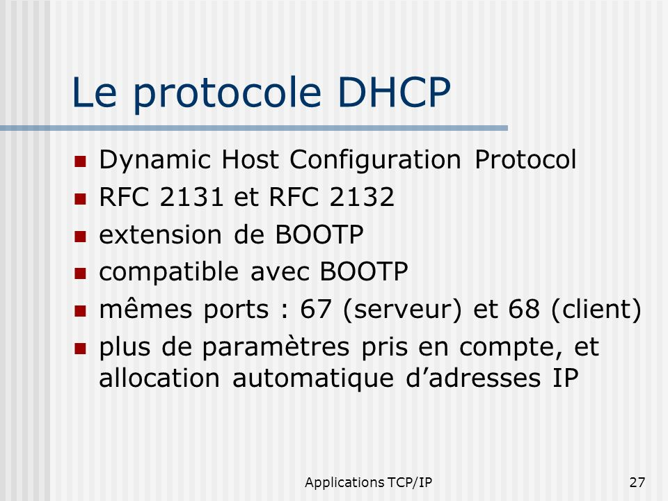 Le protocole DHCP Dynamic Host Configuration Protocol