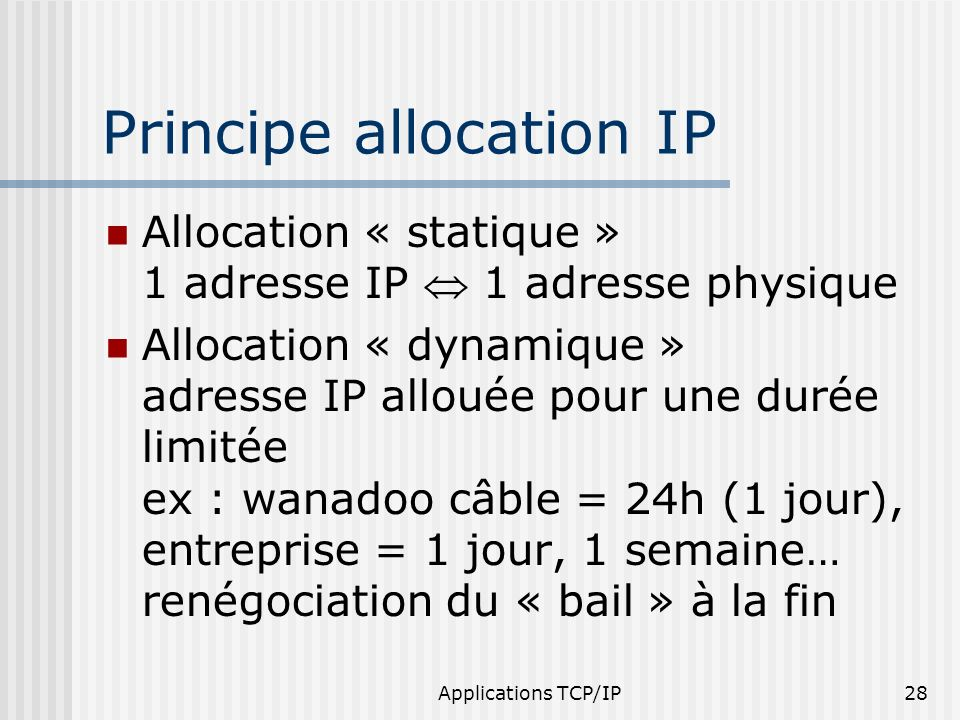 Principe allocation IP