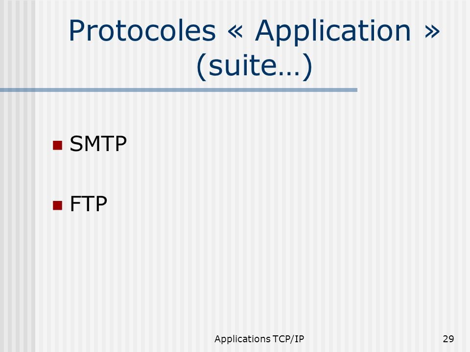 Protocoles « Application » (suite…)