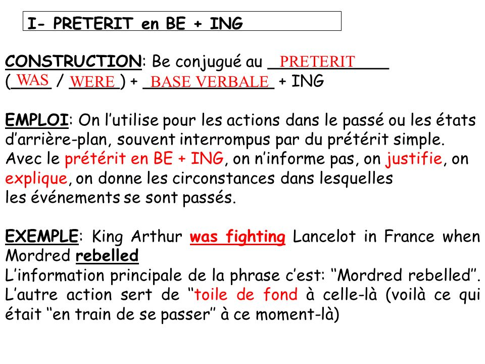 I- PRETERIT en BE + ING CONSTRUCTION: Be conjugué au ____________ (____ / _____) + _____________ + ING.