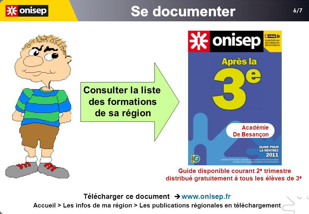 Se documenter Consulter la liste des formations de sa région