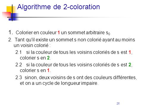 Algorithme de 2-coloration
