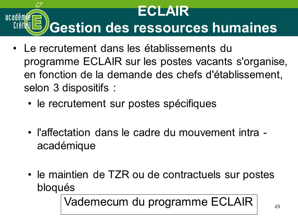 ECLAIR Gestion des ressources humaines
