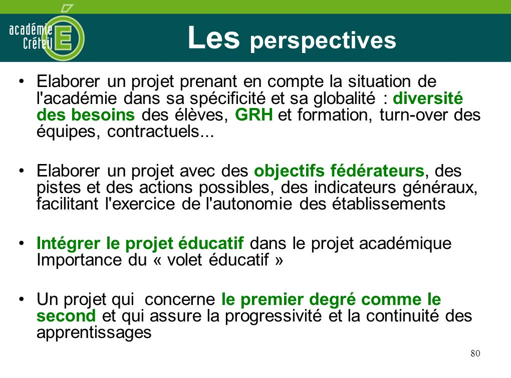 25/03/2017 Les perspectives.