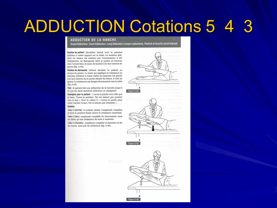 ADDUCTION Cotations 5 4 3