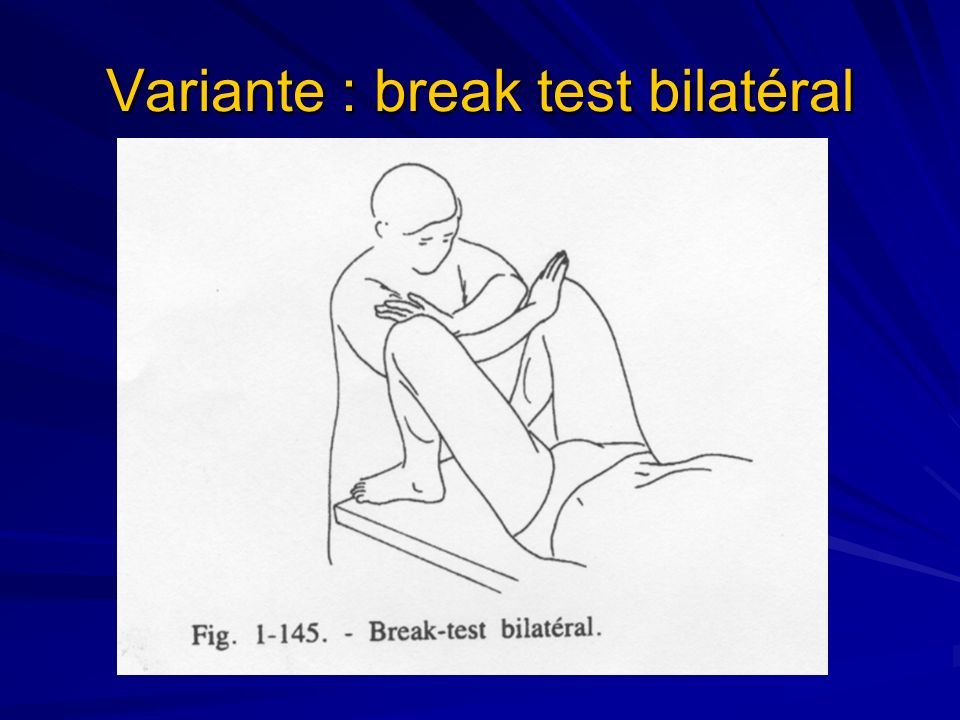 Variante : break test bilatéral