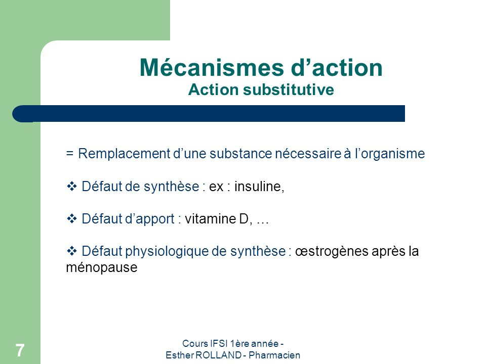 Mécanismes d'action Action substitutive