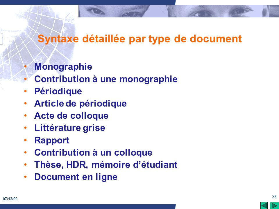Syntaxe détaillée par type de document