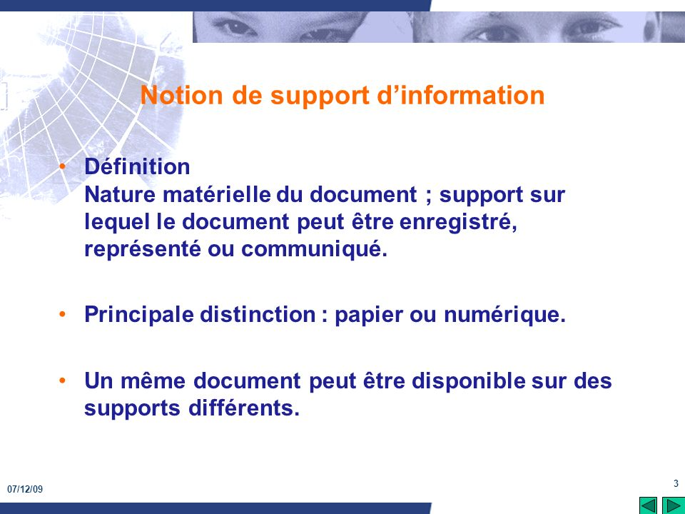Notion de support d'information