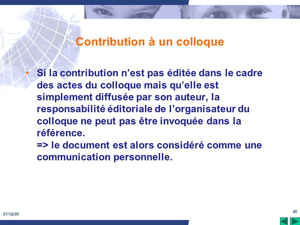 Contribution à un colloque