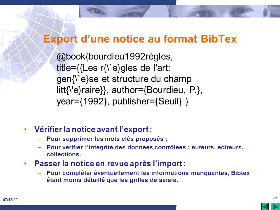 Export d'une notice au format BibTex
