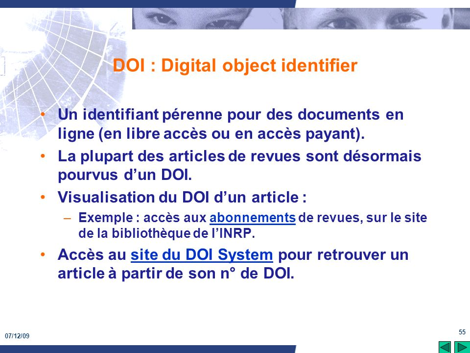 DOI : Digital object identifier