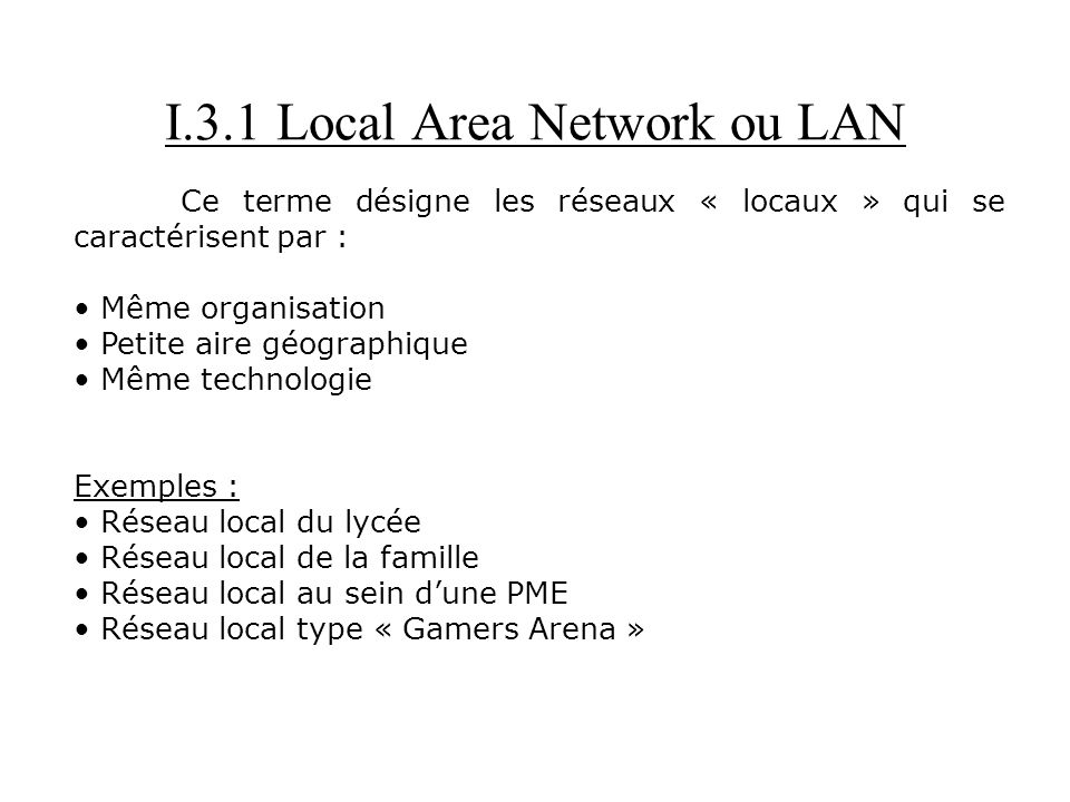 I.3.1 Local Area Network ou LAN