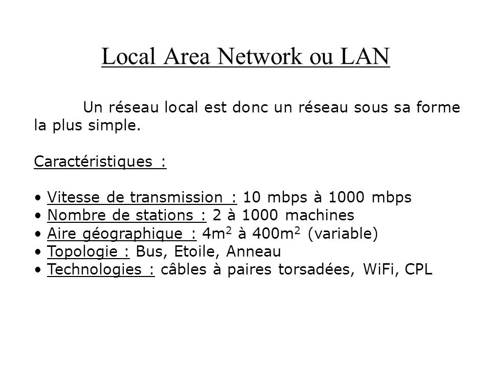 Local Area Network ou LAN