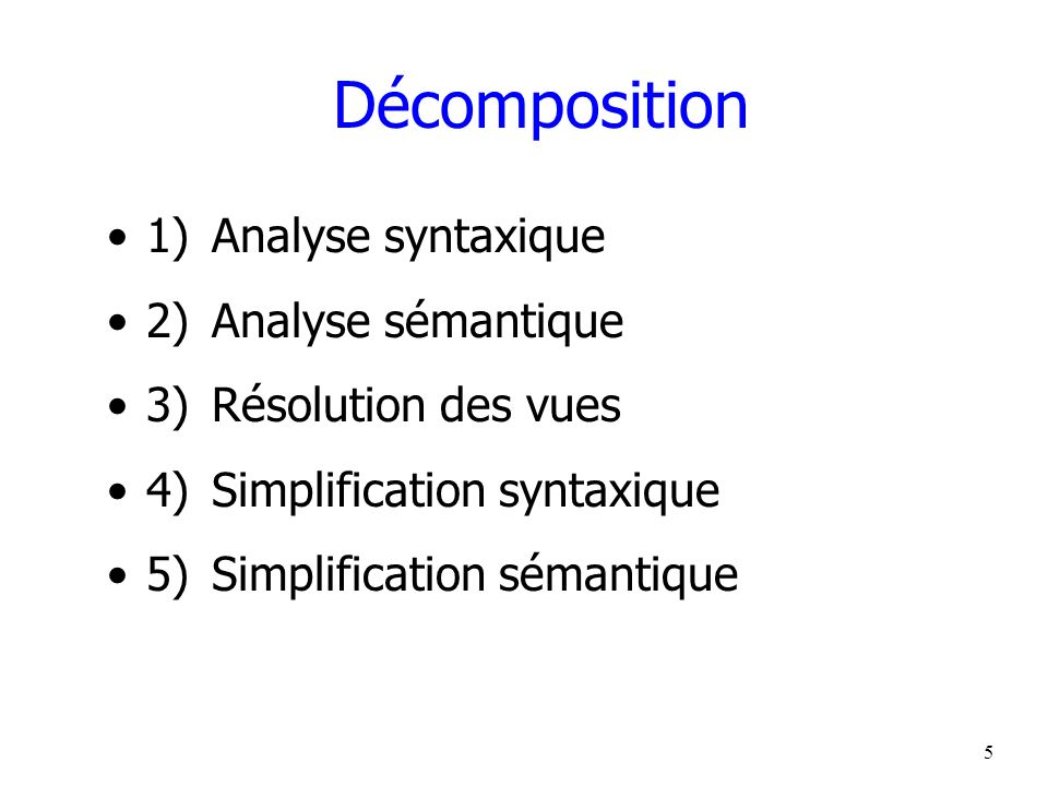 Décomposition 1) Analyse syntaxique 2) Analyse sémantique