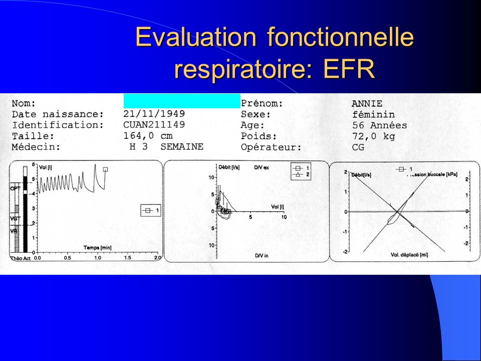 Evaluation fonctionnelle respiratoire: EFR