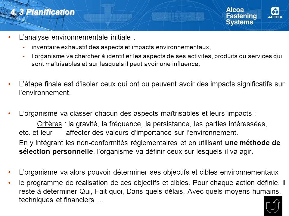 4. 3 Planification L'analyse environnementale initiale :